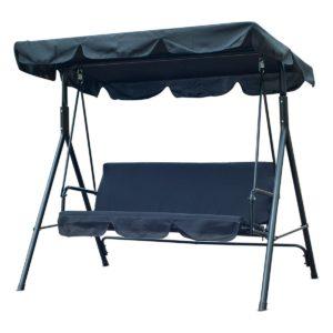 Balancín de 3 asientos de metal con parasol