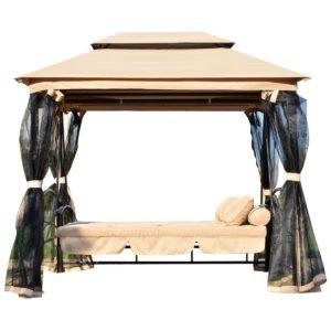 Balancín de jardín con mosquitera y función cama