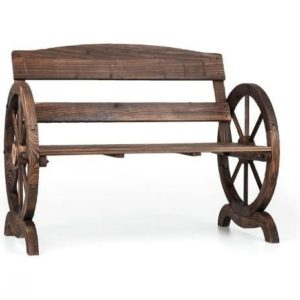 Banco de jardín de madera con forma de carro