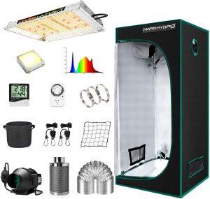 Kit para cultivo de marihuana en interior con luz de espectro completo