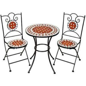 Mesa de jardín de hierro con sillas TecTake