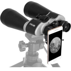 Prismáticos astronómicos con adaptador para teléfono